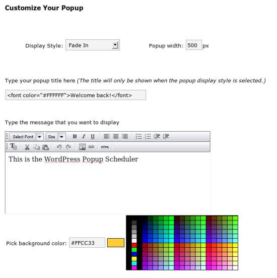 WordPress Popup Scheduler Screenshot2