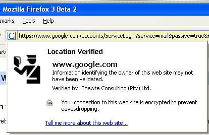 Firefox 3 Beta 2 screenshot- location bar favicon