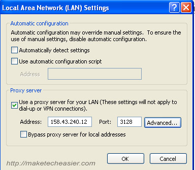 Internet Explorer proxy screenshot