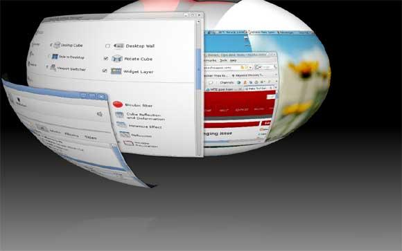 compiz sphere with 3D window