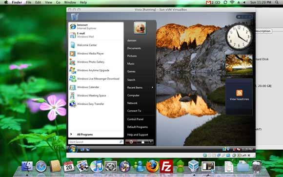 The same Vista VM running in Mac