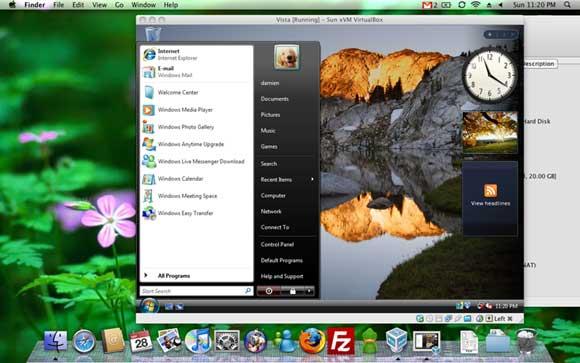 The same Vista VM running in Mac