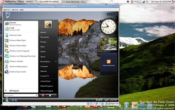 Windows Vista running as a VM in Ubuntu
