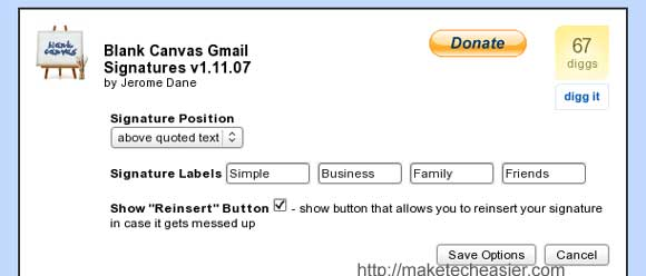 Gmail signature options
