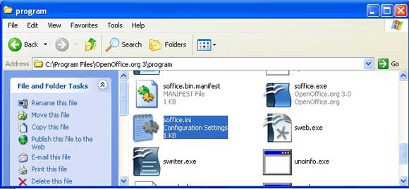 OpenOffice Windows location