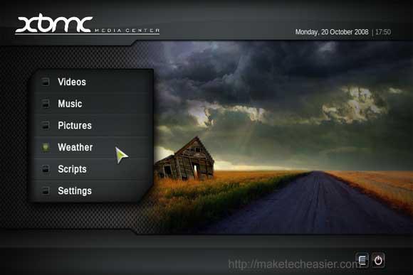 XBMC main menu