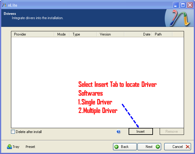 Click Insert Tab to add driver location