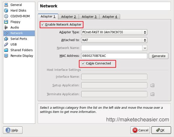 Virtualbox Network setting