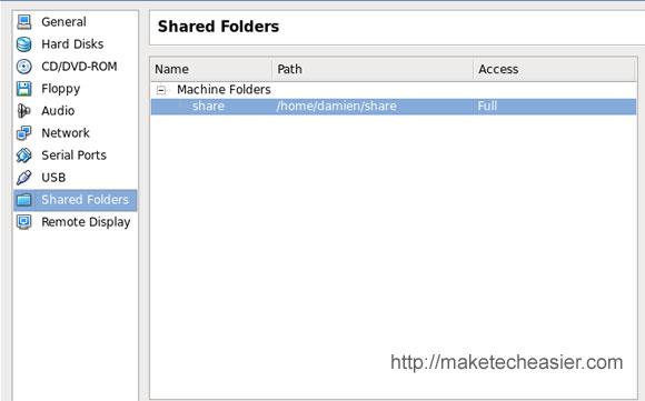 Virtualbox share folder
