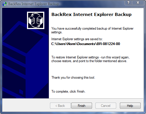 IE Backup Complete