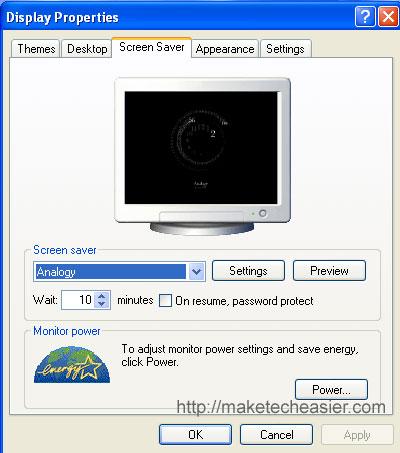 Set Analogy as active screensaver
