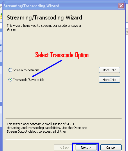Transcode file option