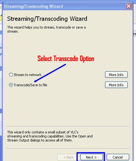 Transcode file option