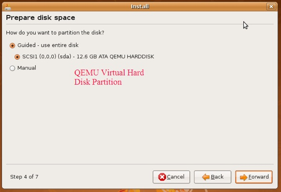 partitionining virtual machine