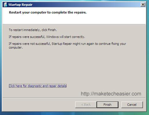 vista finish bootloader repair