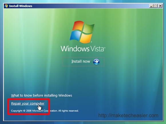 Vista repair bootloader