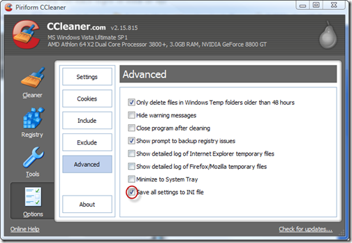 automate ccleaner advanced options