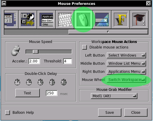 Mouse preferences window