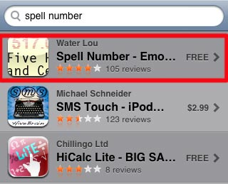 search for spell number in the appstore