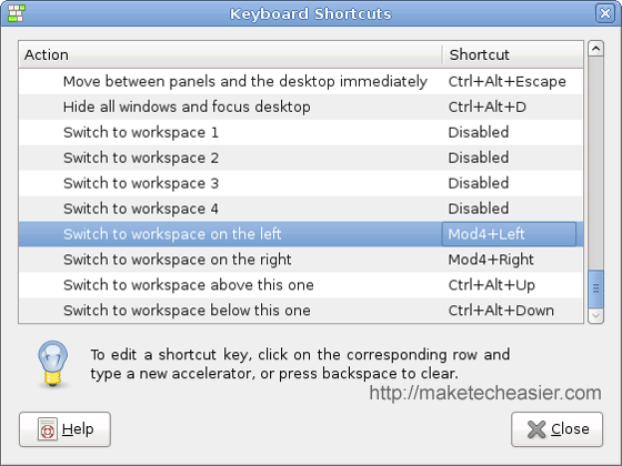 Keyboard Shortcuts Screen