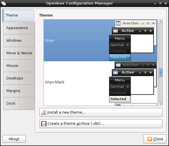 Openbox configuration manager