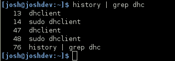 Example of using grep to filter history list