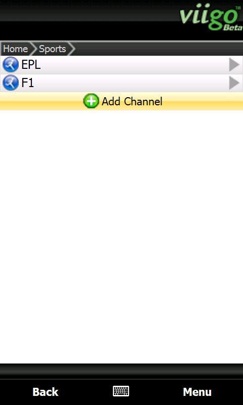 Adding a preset channel in Viigo