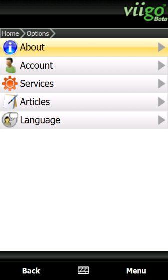 The Viigo options screen
