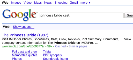 A typical Google result page