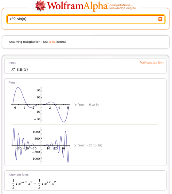 Example of Wolfram|Alpha computing math