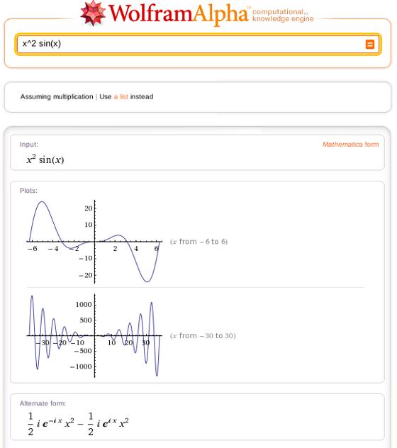 Example of Wolfram|Alpha computing math
