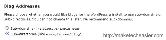 wordpress mu choosing sub directories