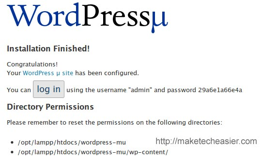 wordpress mu installation finished