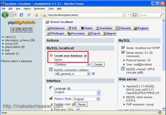 creating wordpress mu database
