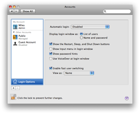 The Login Options button under Accounts is where you activate fast user switching.