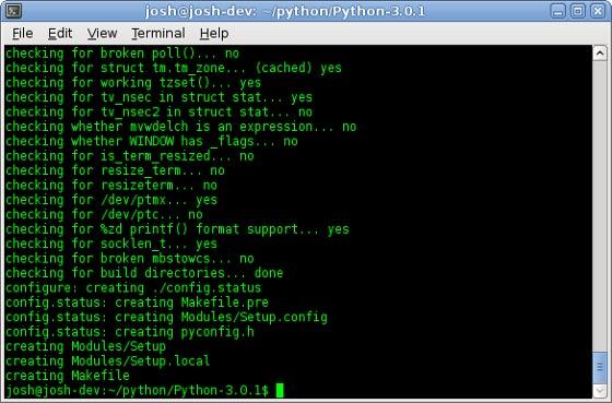 Running the configure script