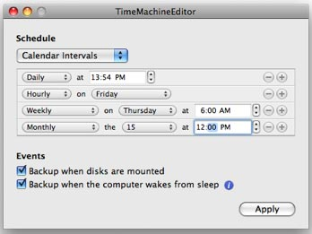 TimeMachineEditor's configuration window gives you a wealth of options.