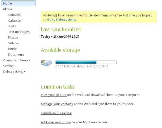 The My Phone desktop web view