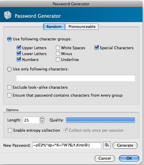 KeyPassX's password generator.
