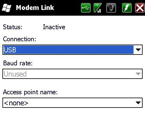 Modem Link option in Windows Mobile 5.0