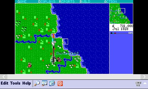 Sid Meier's RailRoad Tycoon running on Windows Mobile MS-DOS emulator Pocket Dos