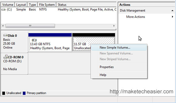 create new partition on vista