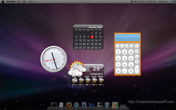Intrepid OSX desktop with dashboard effect