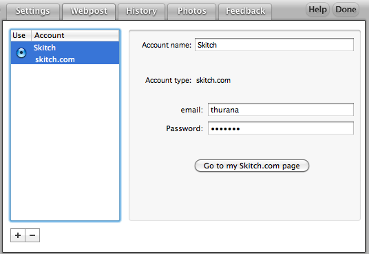 Skitch - Webpost accounts