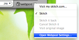 Skitch - Open Webpost settings