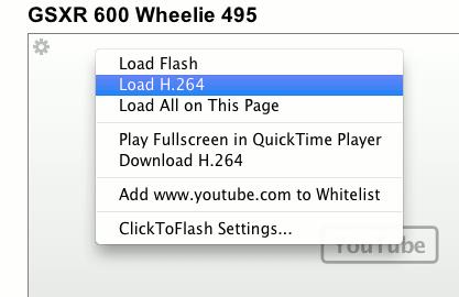 Load H.264 stream using ClickToFlash