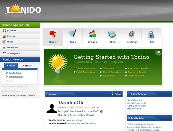 tonido-main-screen