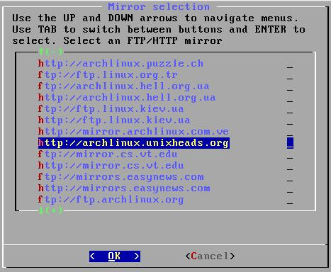 archlinux-install03-choosemirror