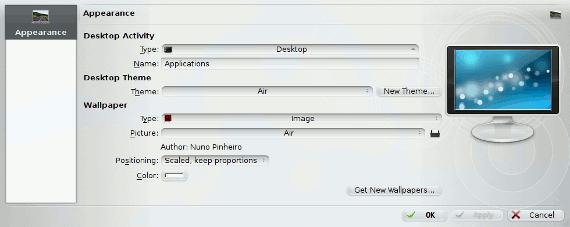 KDE Desktop wallpaper dialog