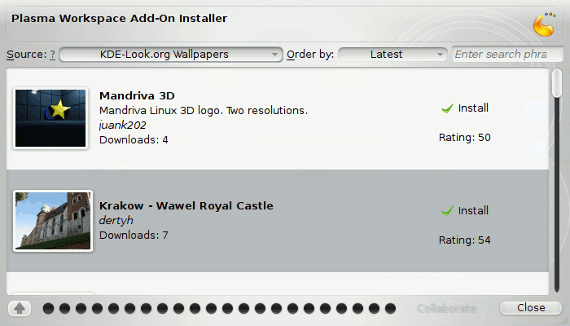 Installing new wallpapers in KDE